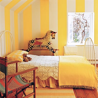 stripes painted in uniform widths and in tonal colors for painting wall stripes