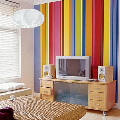 thin stripes painted in a variety of sizes and colors for painting wall stripes