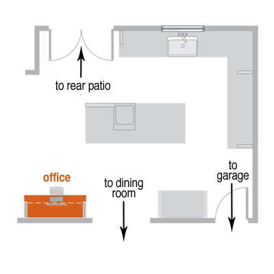 floor plan of home office built into kitchen