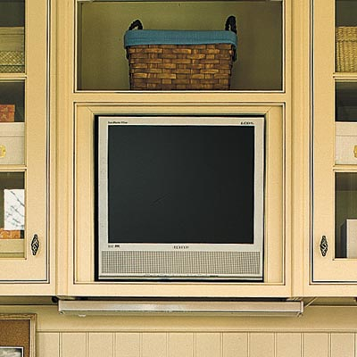 plasma tv built into wall of kitchen home office