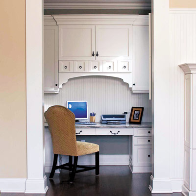 home office nook with computer desk and chair