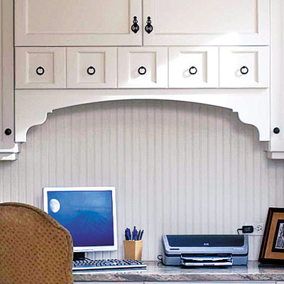 home office nook with beadboard and cabinets
