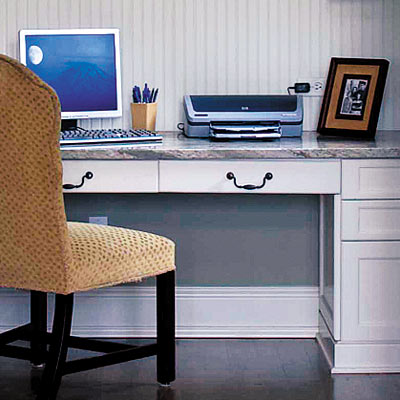 home office nook with marble desk top