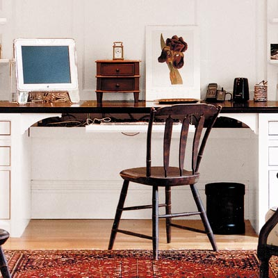 home office with large desk for two people
