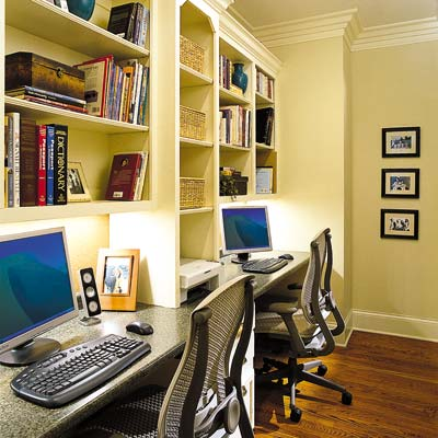 home office with two separate cubbies