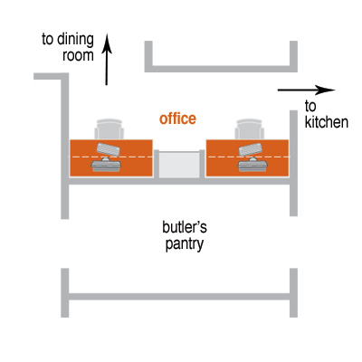 floor plan of home office with two separate cubbies