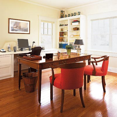 home office with mahogany writing desk