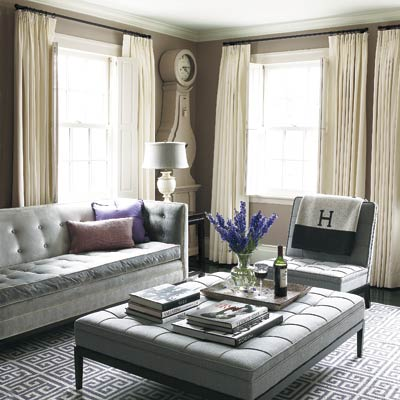gray toned living room with purple accents