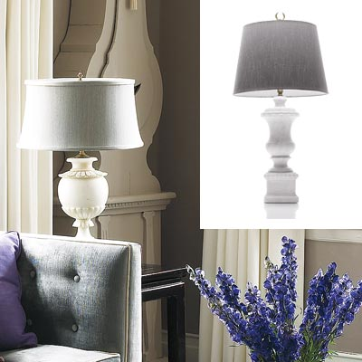 gray toned living room and urn shaped lamp