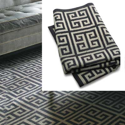 gray toned living room with graphic rug from jonathan adler