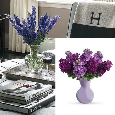 gray toned living room with purple flowers in vase from teleflora