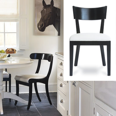 white kitchen with curved back chair from macy's