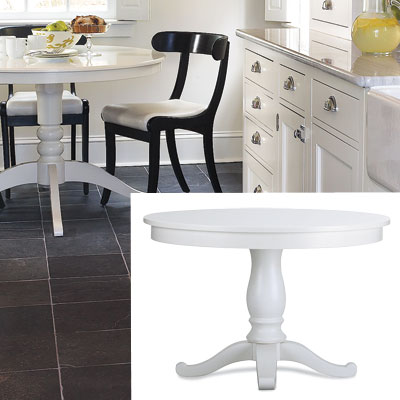 white pedestal kitchen table from crate and barrel