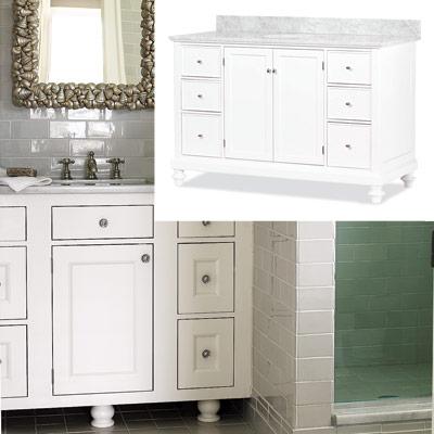bathroom with white vintage vanity
