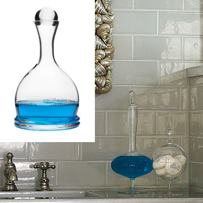 bathroom with glass mouthwash decanter