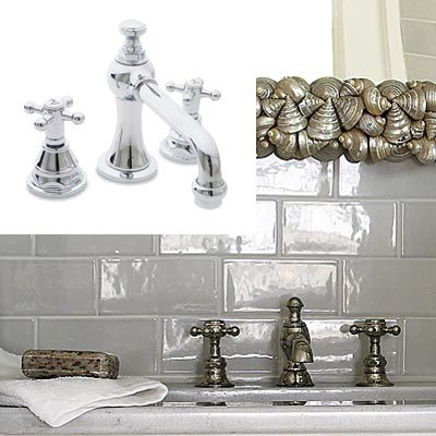 white bathroom with chrome faucet
