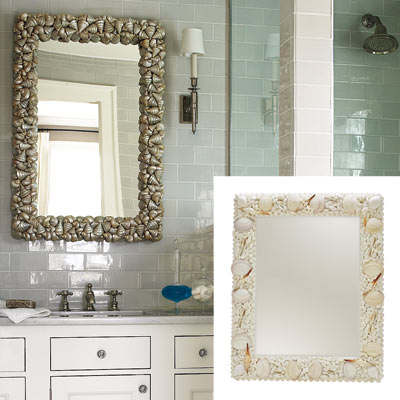 white bathroom with sea shell framed mirror