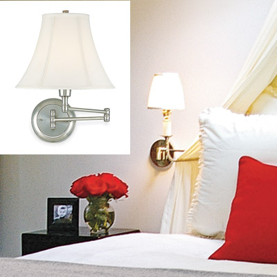 feminine bedroom with wall sconces
