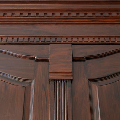 wood cabinets with routed arches