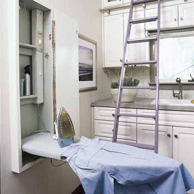 fold out ironing board in spa laundry room
