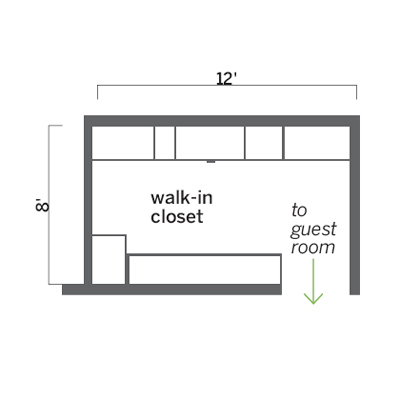floor plan of guest room closet