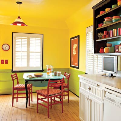 kitchen painted in yellow and green