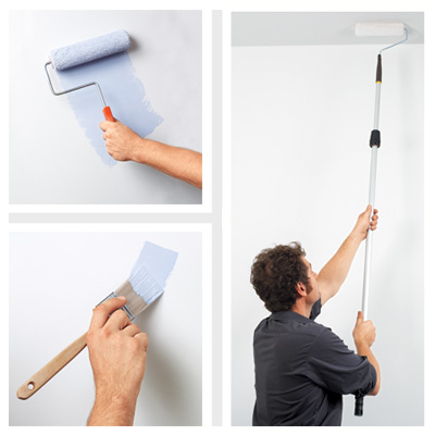 man painting walls with roller and paintbrush with comfortable grip