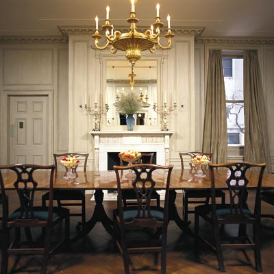 strie painting effect in formal dining room