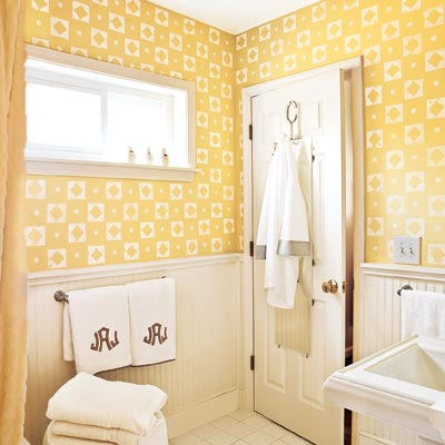 bathroom painted with lively stamp design