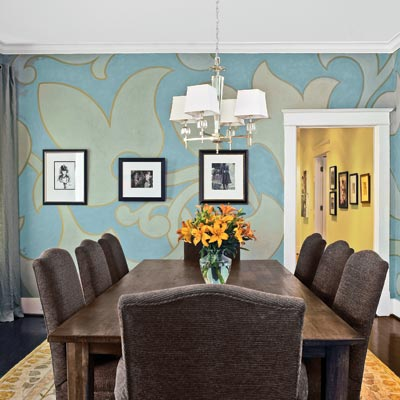 dining room painted with oversized design