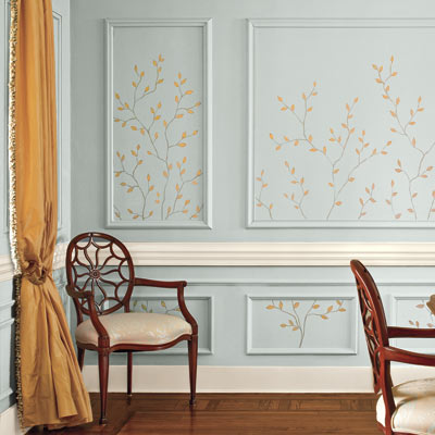 dining room painted with decorative twig design