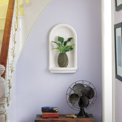 foyer with built in wall niche