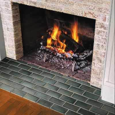 tile hearth in front of fireplace
