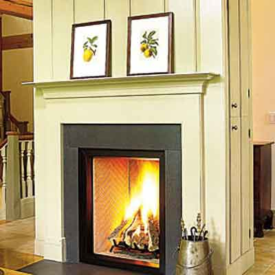 fireplace with granite slab surround and no mantel