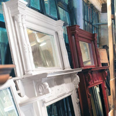 salvaged fireplace mantels