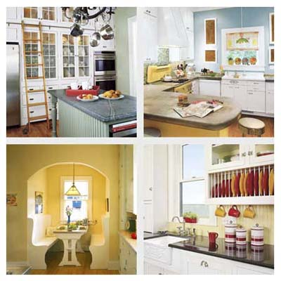 kitchen upgrades including (clockwise from top left) a rolling ladder, a range hood cover, a breakfast nook and cabinet inserts