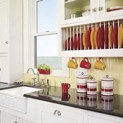 a kitchen upgrade featuring cabinet inserts for storing dishes