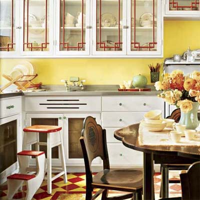 brightly colored kitchen filled with vintage looks