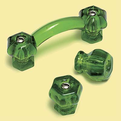 green glass knobs and pulls as vintage look kitchen hardware