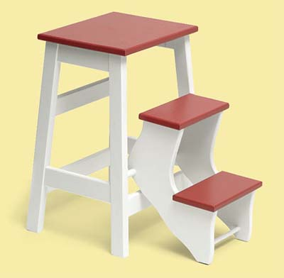 colorful fold up stool for this vintage look kitchen