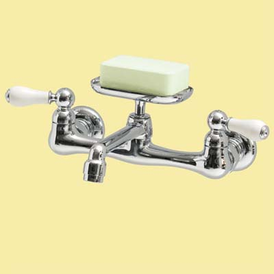 retro porcelain handled faucet for this vintage look kitchen
