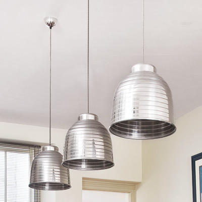 retro modern kitchen with oversized pendant ceiling lights