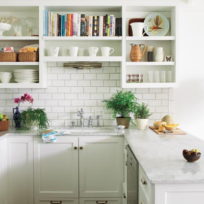 white airy kitchen with open shelves