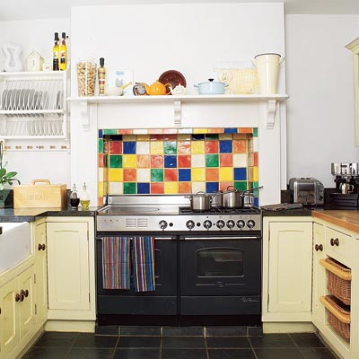 kitchen with multi colored tile backsplash mosaic