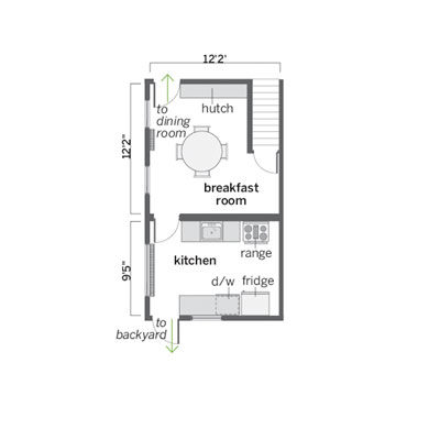 floor plan of this open kitchen before remodel