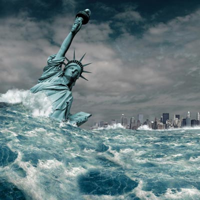 statue of liberty being swept away in apocalyptic flood