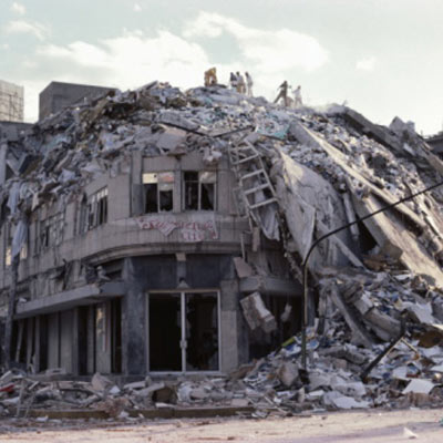 building dilapidated by earthquake