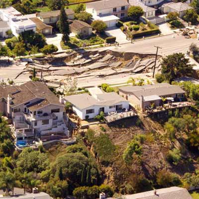 sinkhole in residential area