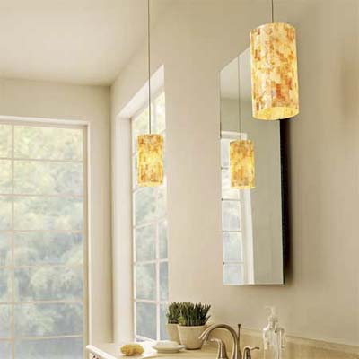 example of pendant lights used in a bathroom as an alternative to sconces