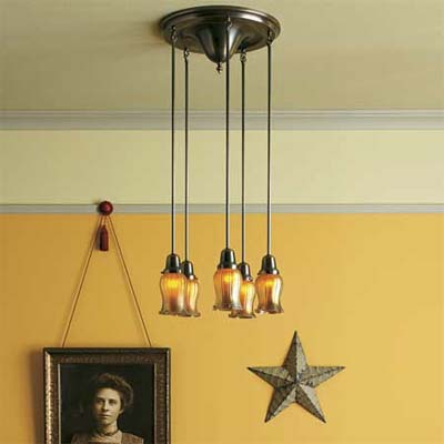 five bulb, multiple pendant light canopy